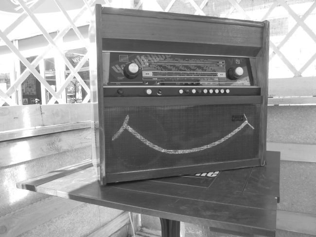 Radio for homeless man post