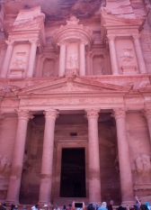 The Treasury. Probably the most iconic image at Petra. The top is riddled with bullet holes where people have shot at it, hoping to break it open because they believed the holy grail was inside.